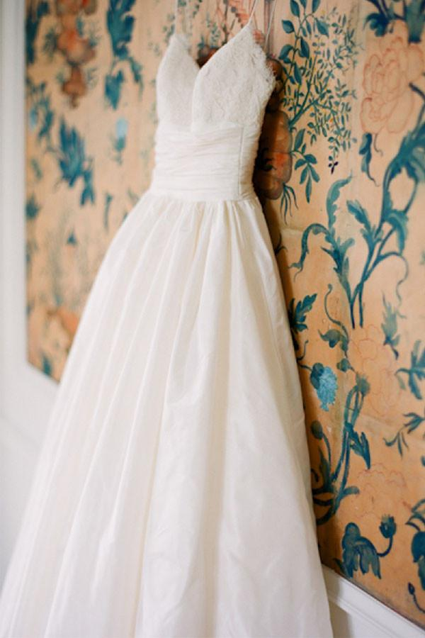Spaghetti Straps Floor-Length White A Line Wedding Dress With Lace Top OK566