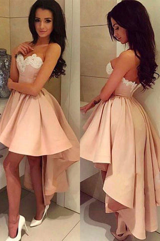 Sexy Homecoming Dresses,Sweetheart Homecoming Dresses,A Line Homecoming Dress,High-low Prom Dress,Pink Prom Dresses,White Lace Homecoming Dress