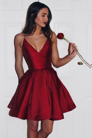 6a0d91d1730b Burgundy Short Cute Simple Spaghetti Straps Homecoming Dresses ...