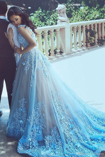 A-Line Blue Sleeveless Tulle Wedding Dress 2017 With Chapel Train OK202