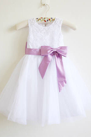 White Lace Lilac Baby Girls Dress, Tulle Flower Girl Dresses With Lilac Sash OK203