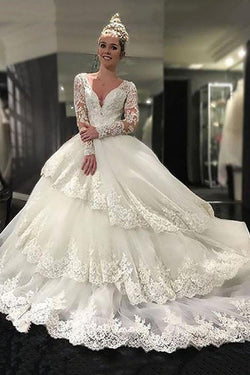 Luxurious Lace Long Sleeves V-neck Layers  Ball Gown Wedding Dresses OKH79