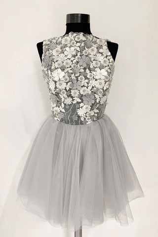 Gray Tulle Lace Short Prom Dress, A Line Flowers Homecoming Dress OKP44