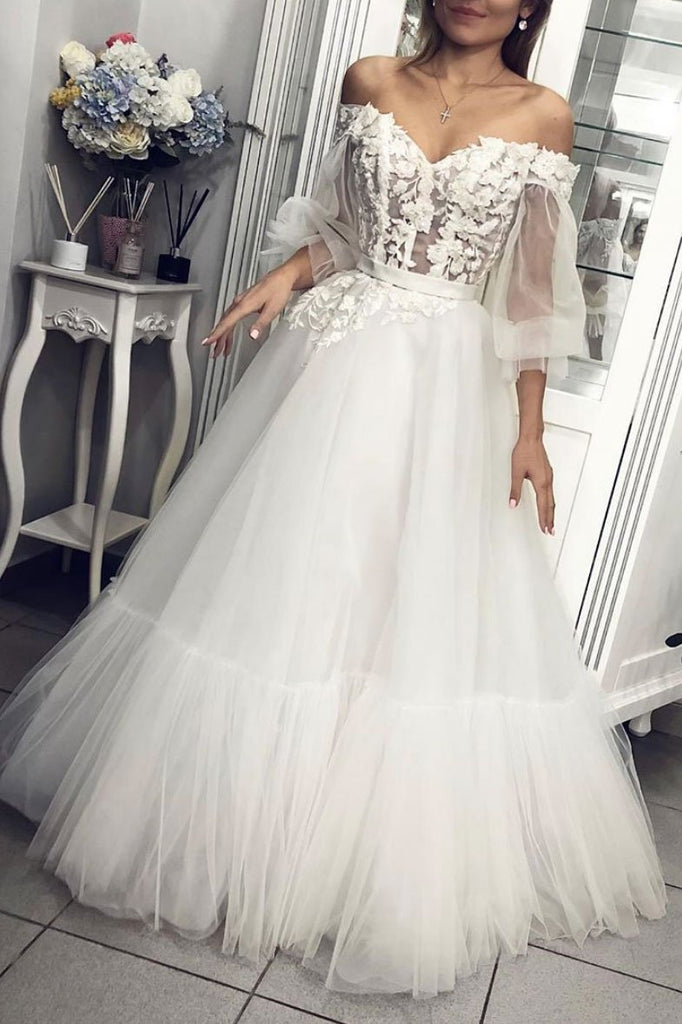 Off the Shoulder Long Sleeves Appliques Tulle A Line Prom Dresses OKQ1