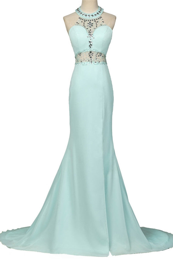 Mint Halter Open Back Long Mermaid Charming Elegant Chiffon Prom Dresses K750