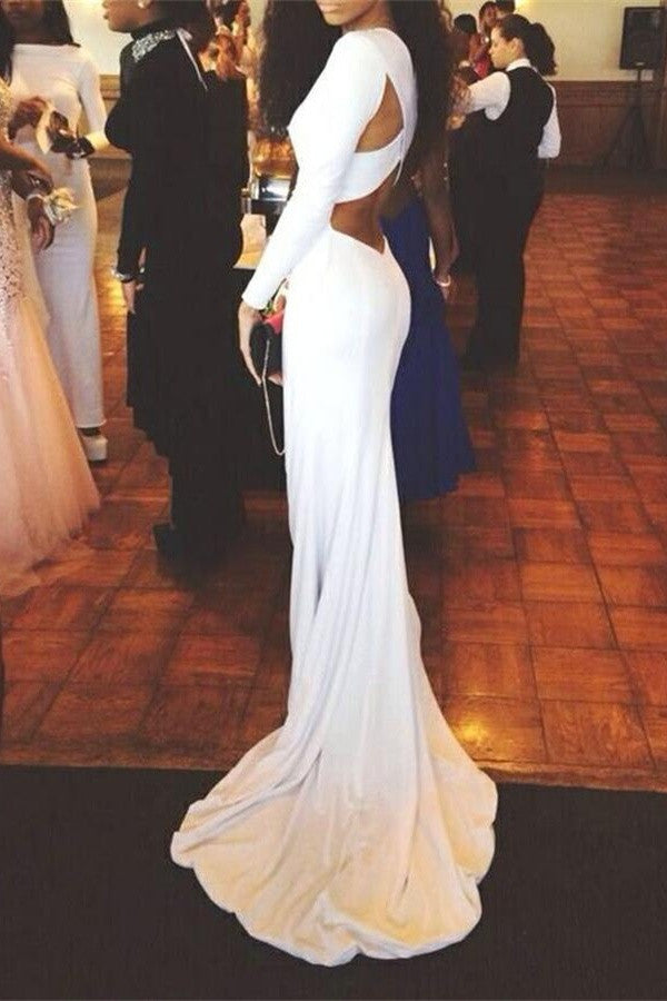 Long Sleeves White Mermaid Long Simple High Quality Cheap Prom Dresses K723