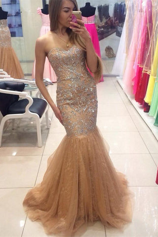 Gorgeous Mermaid Tulle Beading Sweetheart Lace Up Prom Dresses K683