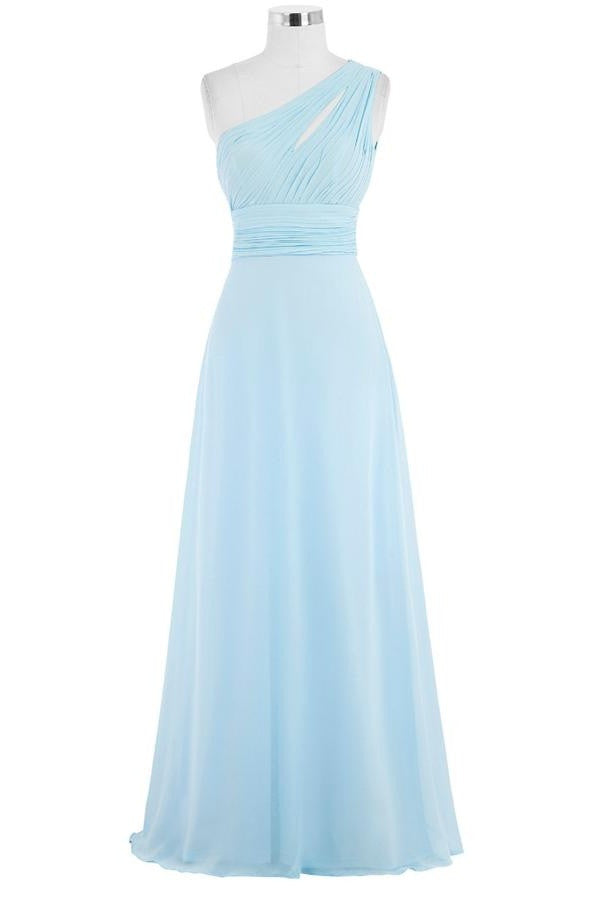 Light Sky Blue One Shoulder Long Chiffon Plus Size Cheap Prom Dresses K749
