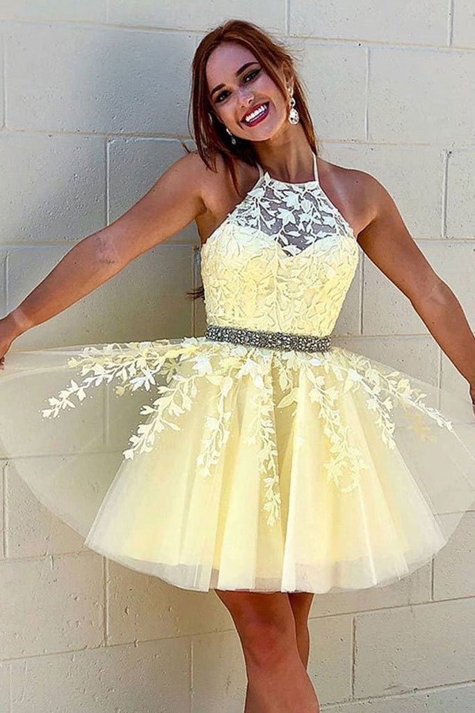 A Line Halter Yellow Lace Appliques Homecoming Dress, Short Prom Dresses OKQ8