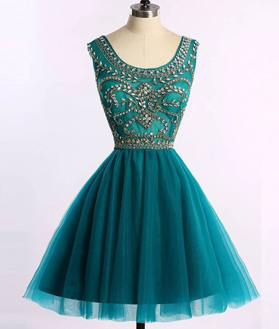 Short Beads Hunter Green Tulle A Line Prom/Homecoming Dress,Cocktail Party Dresses OK315