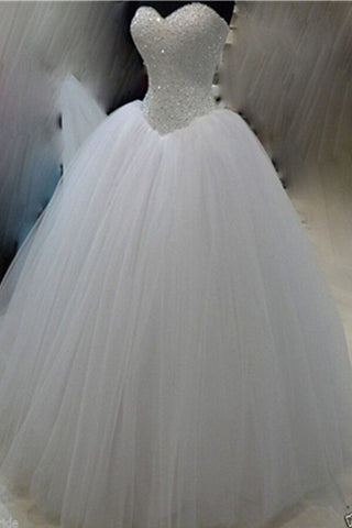 Classy White Ball Gown Long Beaded Sweetheart Lace Up Wedding Dresses W26
