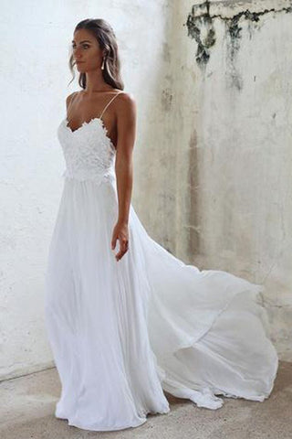 d323d6583b1 Beautiful A Line Lace Long White Spaghetti Straps Beach Wedding ...