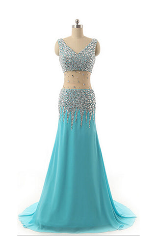 V-neck Light Sky Blue Beaded Long Prom Evening Dresses K14