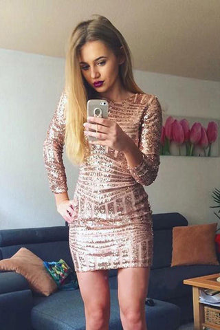 Long Sleeves Sequins Homecoming Dresses, Short Tight Sexy Prom Dresses OKO73