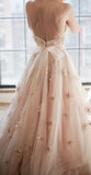 Vintage Strapless Sweetheart A Line Flower Tulle Pearl Pink Wedding Dress OK589
