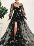 Popular Black Illusion Star Printed Long Sleeves Tulle A-Line Prom Dresses OKT50