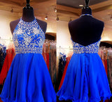 Royal Blue Sparkle Beautiful Beadding Halter Homecoming/Cocktail Dresses,Sweet 16 Dress OK278