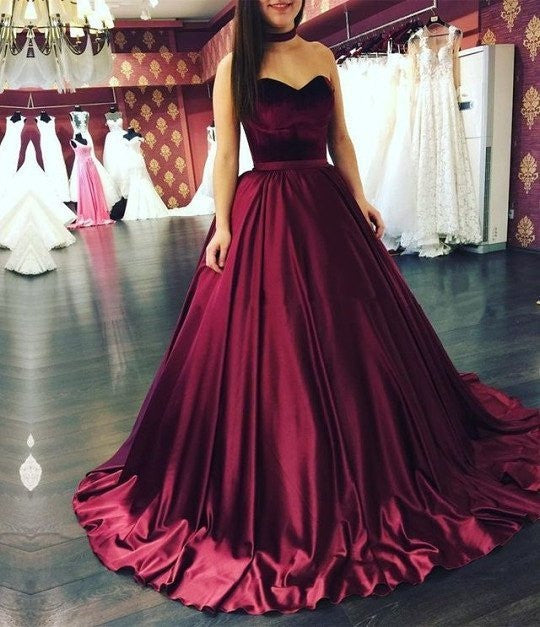 Unique A Line Sweetheart Burgundy Long Ball Gown Prom Dress,2017 Evening Dresses OK252