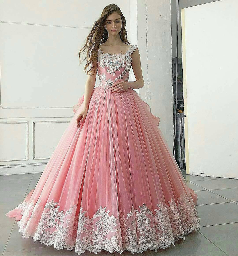 Pink Ball Gown Appliqued A Line Long Prom Dress,Pretty Quinceanera Dress OK253