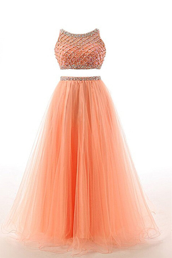 Two Pieces Orange Red Beaded Long Prom Graduation Dresses ED0965