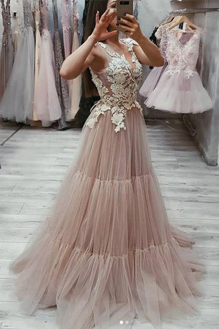 V Neck Tulle Lace Appliques Long Prom Dress, Cheap Tulle Evening Dresses OKG21