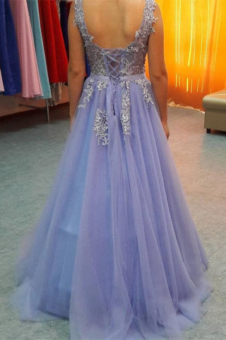 Lavender Lace Up Backless V-neck Lace Beading Tulle Prom Dresses K718