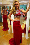 Red Beaded Two Pieces Mermaid Long Open Back Prom Dresses K733