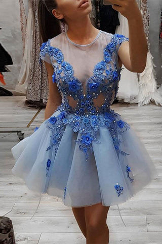 Blue Round Neck Lace Appliques Short Prom Dress, Blue Tulle Evening Dress OKP52