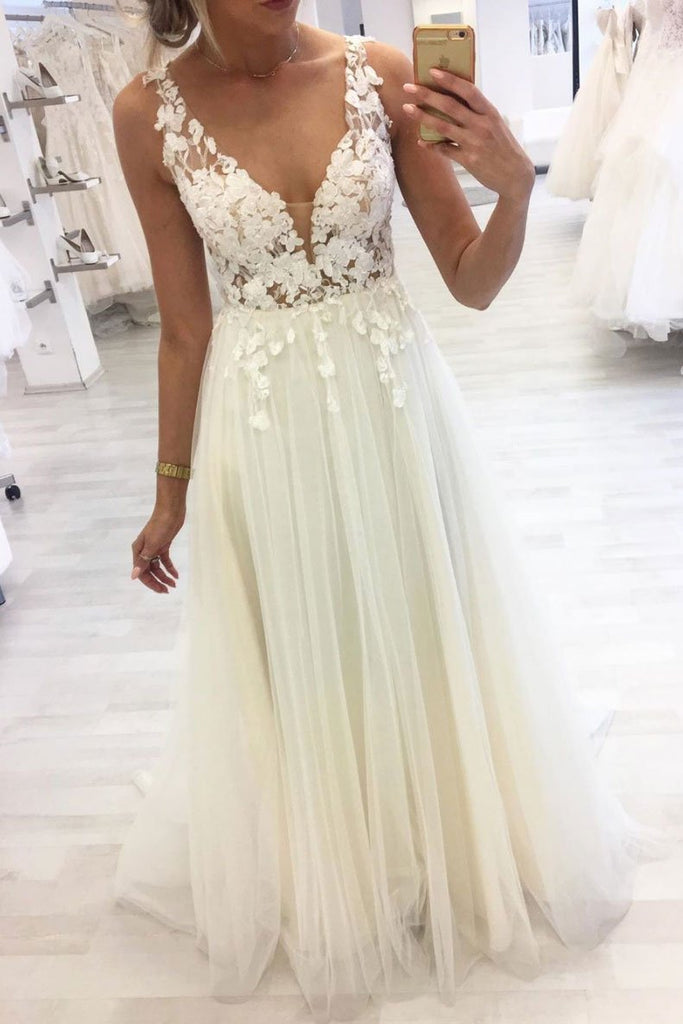 Unique V Neck Lace Applique Long Prom Dress A Line Tulle Formal Dresses OKQ37
