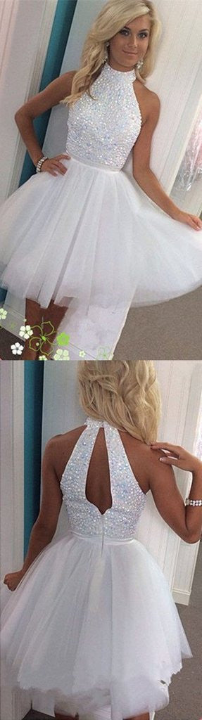 Halter A Line Sexy Open Back White Tulle Beaded Short Homecoming/Prom Dresses OK289
