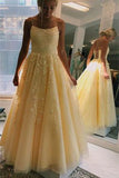 A-Line Yellow Spaghetti Straps Tulle Long Prom Dresses With Appliques OKS48