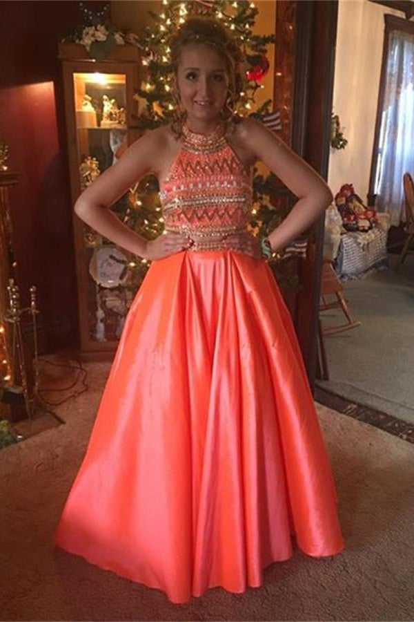 A-line Two Pieces Sleeveless Long Beaded Handmade Prom Dresses K704
