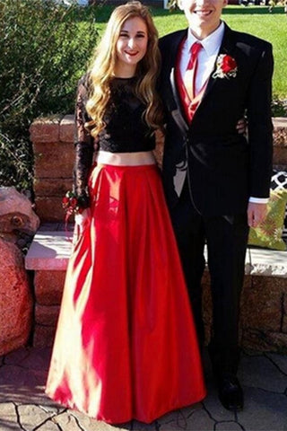Long Sleeves Two Pieces Red Skirt Black Lace Prom Dresses For Teens K680