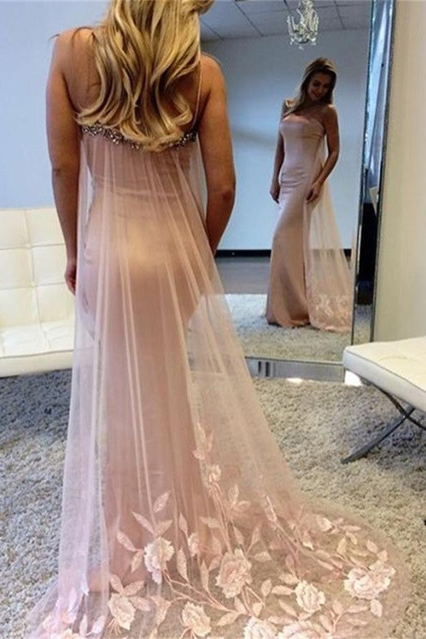 Mermaid Sweep Train Long Pink Spaghetti Straps Beauty Prom Dresses K751