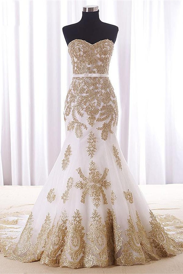 Sweep Train Mermaid Strapless White Long Prom Dresses With Gold Lace K709