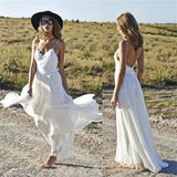 Summer A Line Lace Long Ivory Spaghetti Straps Beach/Coast Wedding Dress OK269