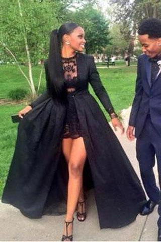 Vintage Long Sleeve Sexy Black A-Line Lace Satin Prom Dresses OKE16