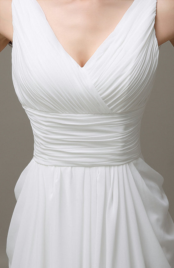 V-neck White Open Back Chiffon Long Simple Plus Size Beach Wedding Dresses W29