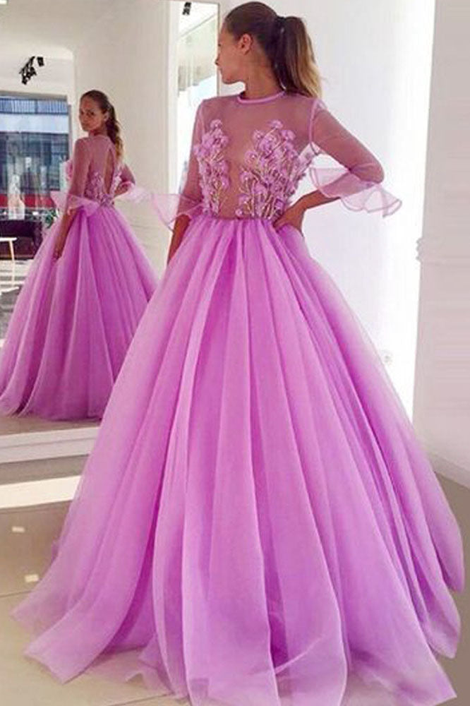 Fairy Ball Gown See Through Ruffled 3/4 Sleeves Tulle Long Prom Dresses with Appliques OKT68