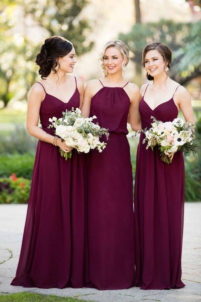 A Line Burgundy Chiffon Straps Long Bridesmaid Dresses OKG74