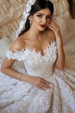 A Line Off The Shoulder Tulle Wedding Dresses With Lace Applique OKE66