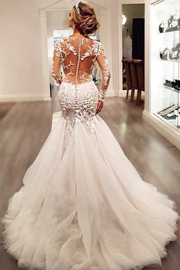 Long Sleeves Mermaid Tulle Sexy Long Ivory Wedding Dresses/Bridal Gown OK9