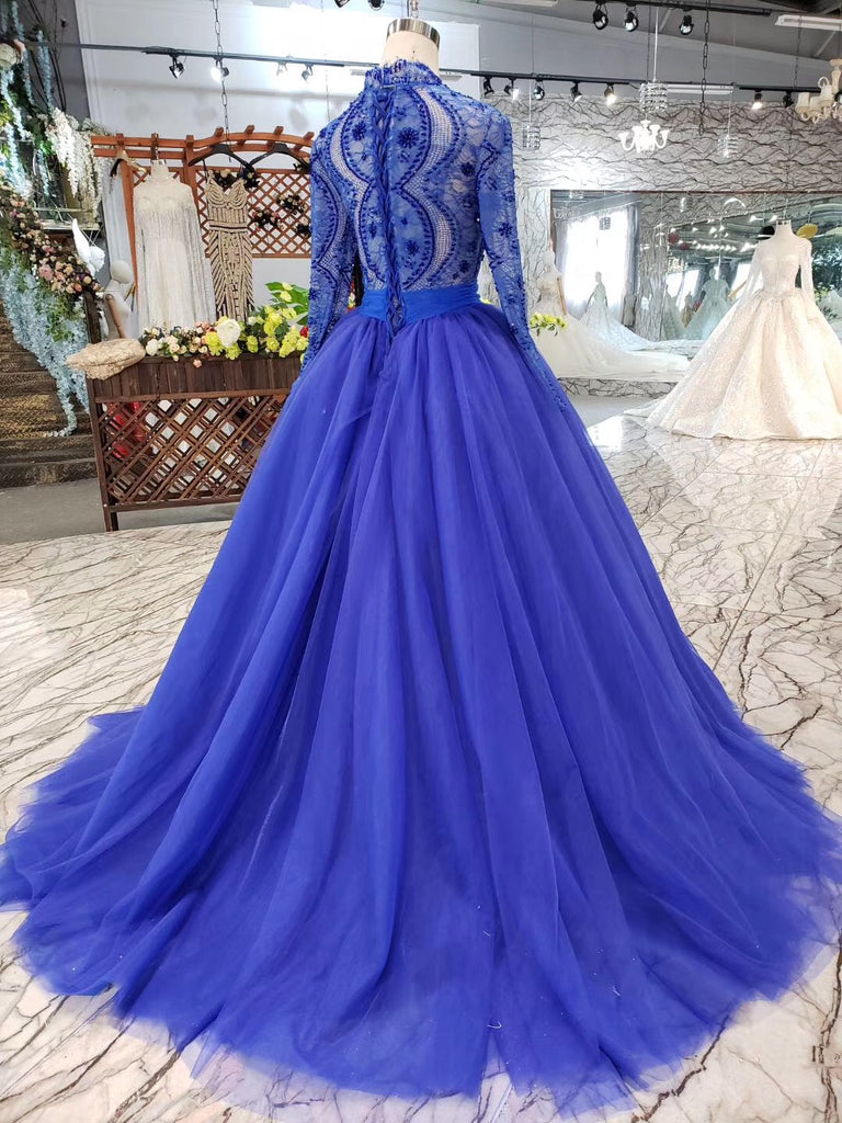 Royal Blue Tulle Long Sleeves Prom Dresses, Quinceanera Dresses OKK8