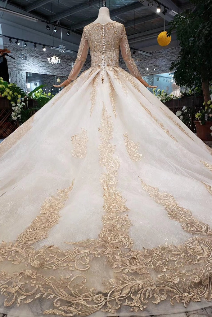 New Arrival Prom Dresses Long Sleeves Ball Gown Scoop With Applique Beads Lace Up Back OKK16