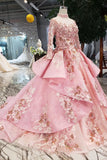 New Arrival Pink Prom Dresses Long Sleeves Ball Gown High Neck Quinceanera Dresses OKK17