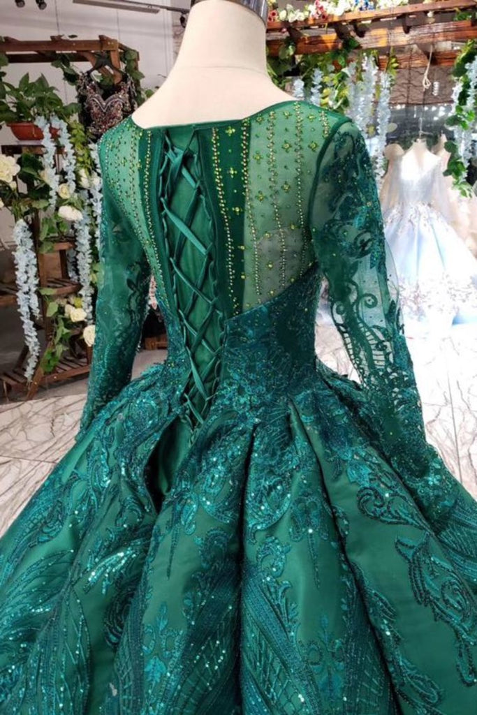 Scoop Long Sleeves Lace Up Back Green Prom Dresses OKL21