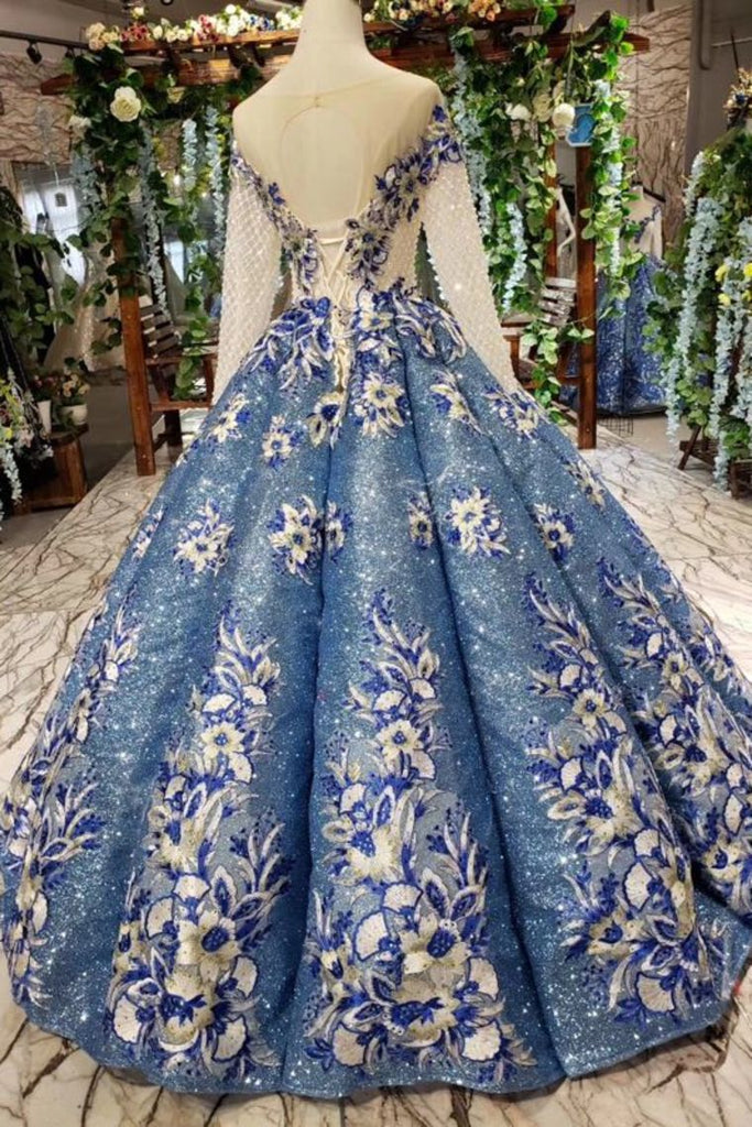 Scoop Long Sleeves Lace Up Back Blue Appliques Prom Dresses OKL23