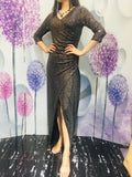3/4 Sleeves V Neck Sheath Sequins Slit Prom Dresses XU90820