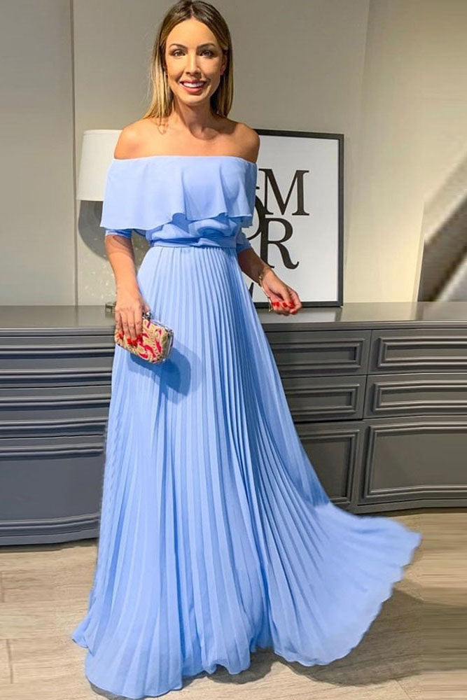 A Line Off the Shoulder Chiffon Blue Long Prom Dresses, Elegant Formal Dresses OKT66