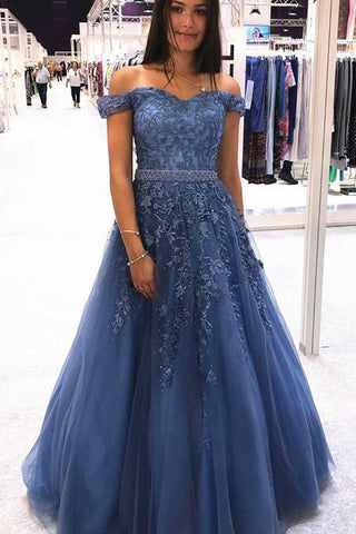 Blue Off the Shoulder Lace Appliques Tulle Long Prom Dresses with Beaded OKT65